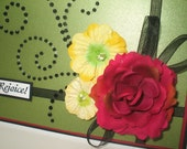 "SALE Large ""REJOICE"" Card in Red, Black, Green, & Yellow"