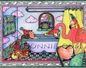 Flamingo Painting. Flamingo Decor. Pink. FLAMINGO FANTASY. Flamingo Art. Colorful Whimsical Flamingo Paintings. Flamingo Gifts