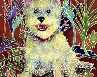 DOG Painting. Dogs. Print. Art Nouveau. Tropical. Small White Dog. FREE Notecard. Puppy. Veterinarian Art. Canine Portrait. Decor. Batik Art