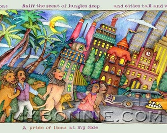 PRIDE of LIONS. Painting. Collective Noun. Animals. Wild Things. Poem. Multi-cultural. Jungle. City. Nature. Friendship. Taxi