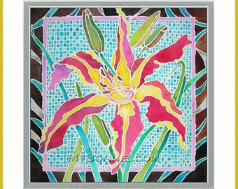 DAY LILY - Art Deco. Colorful Flower Garden. Day Lilies. Red. Yellow. Turquoise. Watercolor. Batik. Serti Technique. Decor. Graphic Design.