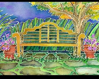 Garden Art. GARDEN BENCH. Meditation Seat. Autumn. Fall. Trees. Gold. Paving Stones. Blue. Sky. Batik. Outdoor. Elegant Art. World. Painting