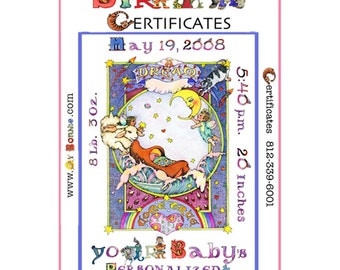BIRTH. Adoption Certificate. NURSERY Art. Personalized. Decor. Baby's Name. Colorful. Painting by Children's Illustrator Bonnie Gordon-Lucas