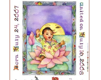 ADOPTION CERTIFICATE. Personalized with colorful letters and illustration for Your Child or BABY