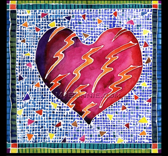 One HEART Can't RESIST. Romantic Valentine. Unique LOVE Painting. Graphic Art. Batik. Decor. Bonnie Gordon-Lucas of My Bonnie Designs