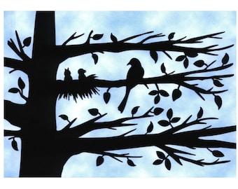 Mother Bird and Chicks Silhouette Wall Art Papercut Art 5X7 Unframed