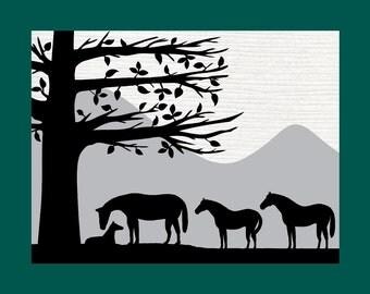Mother Horse With Babies Silhouette Paper Cut Wall Decor Wall Art 8X10 Card Stock cut Mat Unframed
