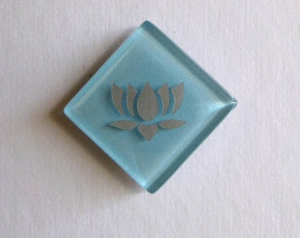Lotus Magnet Silver Etched Lt Blue Glass Mosaic TileThe Lotus - Butterfly Project