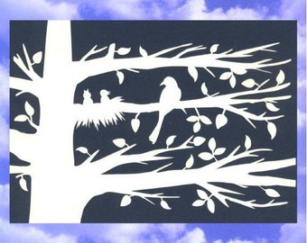 Mama Bird and Chicks Papercut Silhouette Wall Art Wall Decor 10X8 Unframed