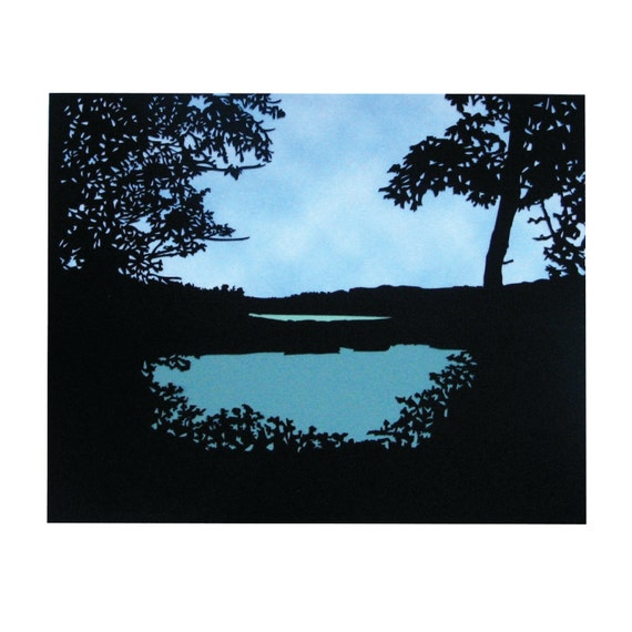 Echo Cliff Piseco Lake Spy Lake Adirondacks, NY Paper Cut silhouette 8X10 Unframed