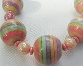 Adjustable Rainbow Bubblegum with Pastel Pearls Necklace and Earring Set made with Vintage Beads