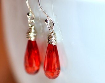 Sterling Silver Wire Wrapped Drop Bead Earrings, Bright Orange Cubic Zirconia Beads