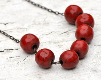 Red Coral Vintage Lucite Bead and Brass Chain Necklace