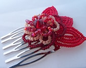 Hair Comb French Beaded Flower Red and Cream