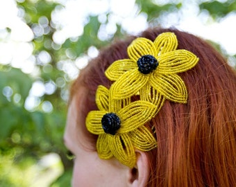 Handmade French Beaded Flower Hair Comb -  Bright Black-Eyed-Susan