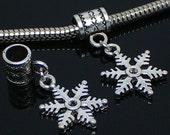 4 Snowflake Charms for Charm Bracelet - Snowflake charm - silver metal - fit Pandora type - quantity of four - winter charms - christmas