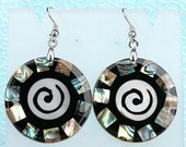 Earrings - Abalone Shell - Mother of Pearl - Mosaic - Inlay - Spiral - Beach Wedding - Bridesmaid - Surgical Stainless Steel French Hook