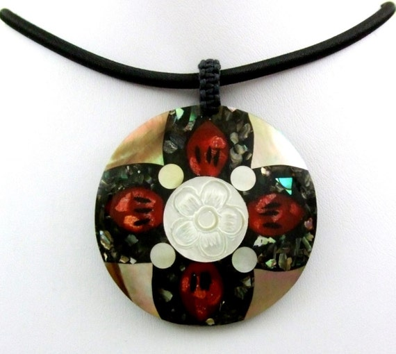 Red Coral - Abalone - Mother of Pearl - Shiva Eye - Sea shell necklace - pendant - Beach Wedding - Bridesmaid - red black flower motif