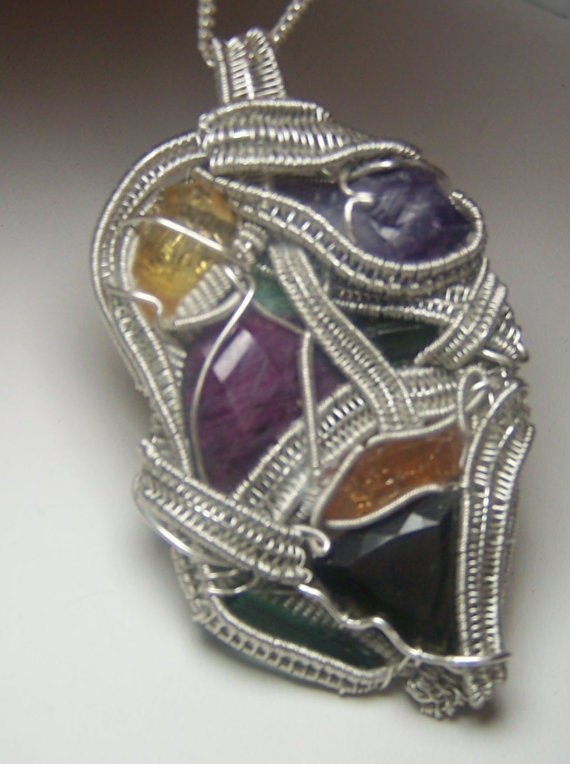 Wire Wrap Crystal Jewelry - Custom made - your choice of gemstones and minerals - pendants rings hat pins necklaces silver gold