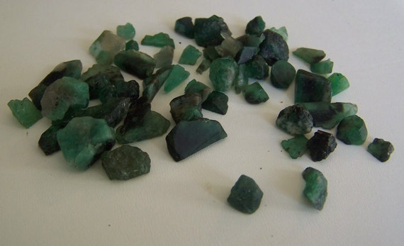 Raw Emerald - genuine Emerald pieces - wire wrapping stones for jewelry making - 3 grams - rough raw natural emerald - coyoterainbow
