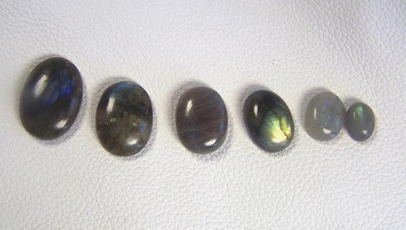 Labradorite - Labradorite Cabochons - lot of 6 - various sizes - 10 x 8 - 20 x 15