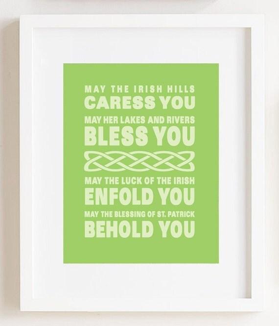 Irish Blessing Print 8 x 10 inches