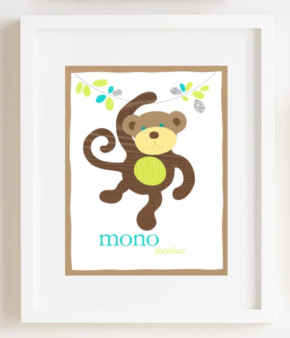 Mono Monkey Print 8 x 10.5 inches