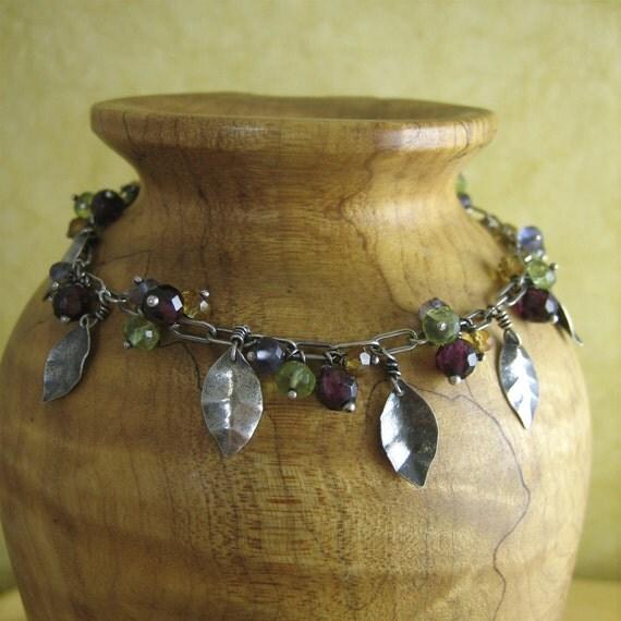 Multi-Gem Leaf Bracelet