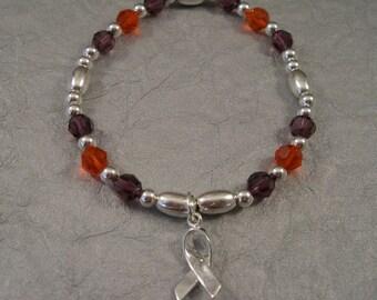 Lupus Awareness Bracelet - Swarovski Austrian Crystals and Serling Silver Beads