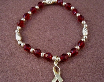 Multiple Myeloma Awareness Bracelet - Swarovski Austrian Crystals and 14kt Gold Beads