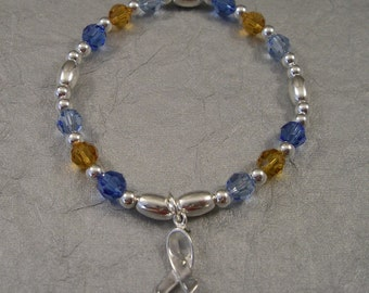 Cystic Fibrosis Awareness Bracelet - Swarovski Austrian Crystals and Sterling Silver Beads