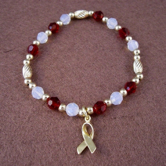 Head, Neck and Throat Cancer Awareness Bracelet - Swarovski Austrian Crystals and 14kt Gold Beads