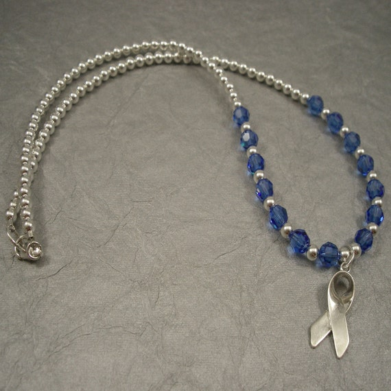 colon cancer awareness necklace swarovski by crystalsofhope