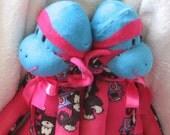 Handmade Sock Monkey,  Bubblegum Pink and Electric Aqua, OOAK, Personalized, Doll Toy Plush Stuffed Animal, Monkey Print