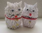 SALE.  3D Origami Cat Pair.  180 Plus Triple Folded Pieces.  White Cat with Red Ribbon. 30 Percent Off.