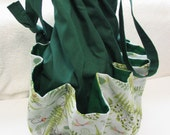 Delightful Nature and Bug Print 8 Pocket Drawstring Bag.  Use for Bingo, Crafts, Scrapbooking, Bath and Beauty Tote.
