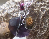 Rare Purple Beach Glass Wire Wrapped Pendant.  Clam Charm. Matching Wire Wrapped Pearls.