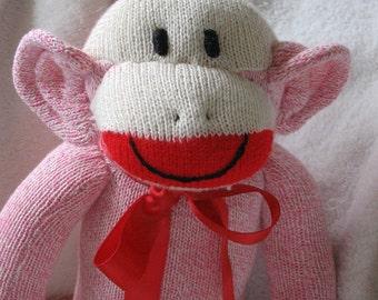 Pink Sock MonkeyDoll,  Bubblegum Pink Sock Monkey, Redheel Socks Pink Monkey, Personalized Limited Edition Toys Doll Plush Stuffed Animal
