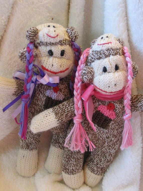 Mini Sock Monkey. Amazing Braided Hat Teeny Sock Monkey.  8 Inches. Collectible. Made from Baby Recycled Socks. OOAK.