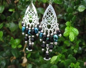 Romantic Chandeliers of Black and Blue Earrings