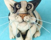 Black and White Cat Sculpture-- RESERVED for Jodi