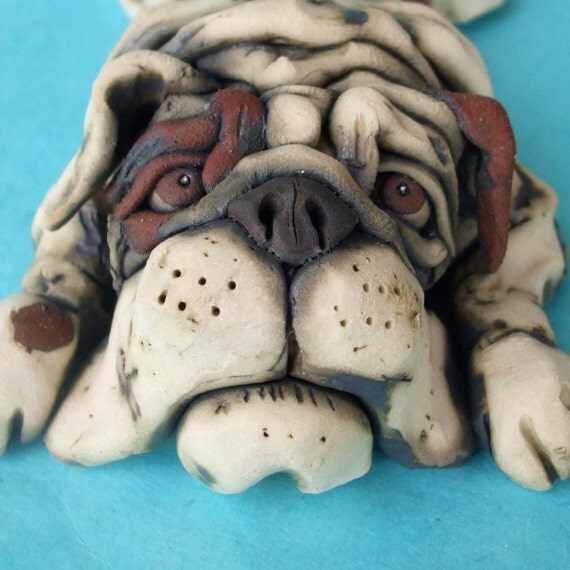 Bulldog Flop Ceramic Sculpture (Large )