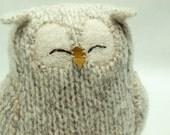 Upcycled Felted Wool Light Grey Sleepy Owl