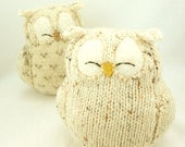 Sleepy Owl Cream Natural White Felted Wool Lamb Wool Stuffing Upcycled Eco Friendly