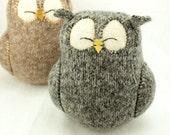 "Sleepy Owl Grey Felted Wool Lamb Wool Stuffing Eco Friendly Upcycled Height 7"""