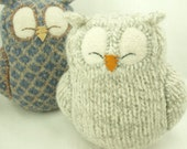 """Sleepy Owl Light Grey Felted Wool Lamb Wool Stuffing Eco Friendly Upcycled Height 7"""" RESERVED FOR LYNNE"""