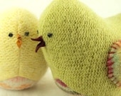 """Light Green Bird with Colorful Wings Felted Wool  Lamb Wool Stuffing Home Decor Nursery Spring  Easter Eco Friendly Up Cycled Height  4"""""""