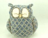 Sleepy Owl Blue Grey and Beige Plaid Felted Wool Home Decor Lamb Wool Stuffing Eco Friendly Upcycled Height 7""