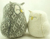 Sleepy Owl Grey Plaid Felted Wool Lamb Wool Stuffing  Home Decor Nursery  Eco Friendly Upcycled Height 7""