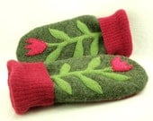 Wool Mittens with Flower Applique in Green and Pink Fleece Lining Leather Palm Up Cycled Eco Friendly Size M